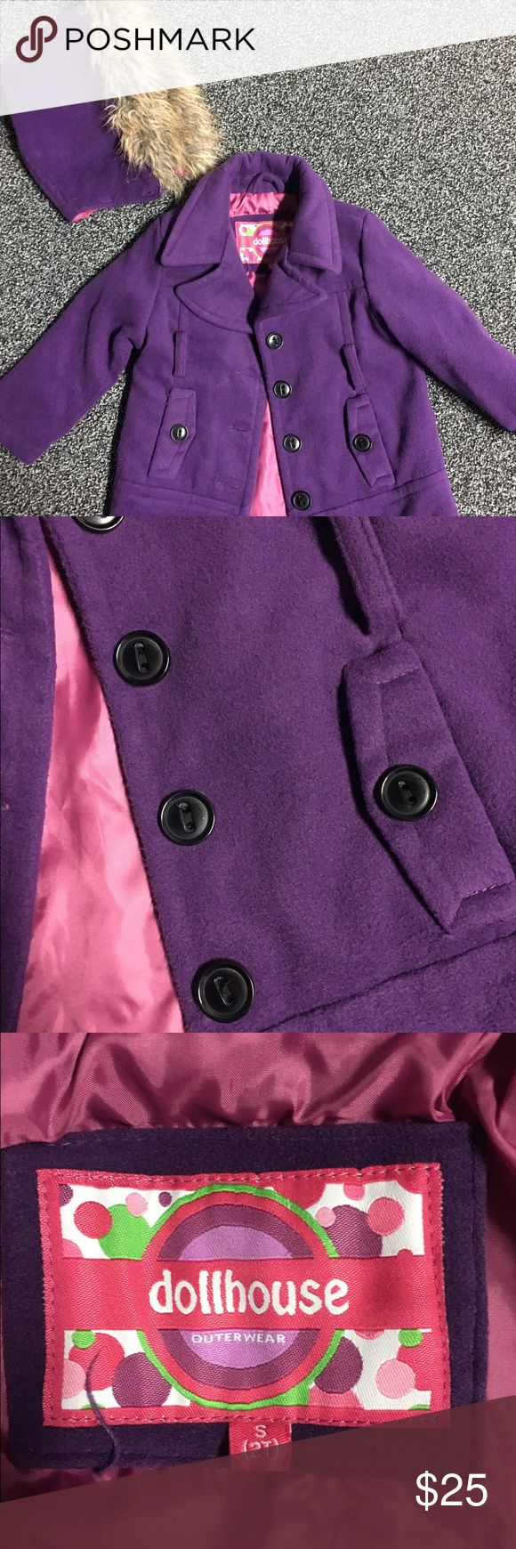 2T Dollhouse BNWOT girls peacoat Brand new without tags, tried on once in house but never had an opportunity to wear it out! 2T adorable purple peacoat with detachable fur trimmed hood! Loooove this coat!! Dollhouse Jackets & Coats Pea Coats