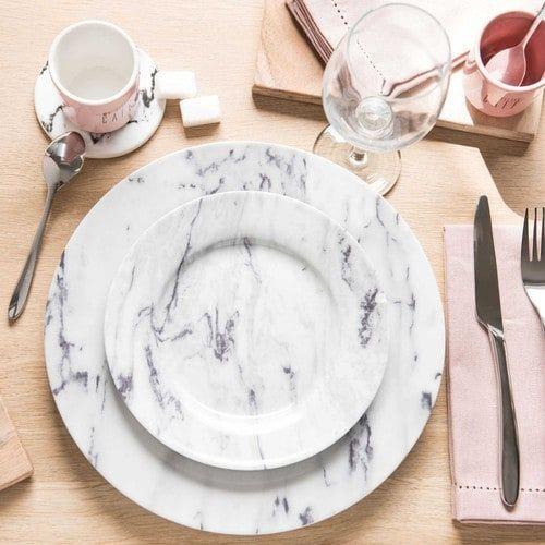 Assiette à dessert en porcelaine D 19 cm MARBRE