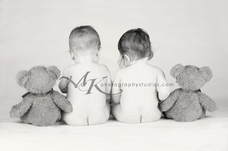 Twins, 8 months old, studio lights, teddy bear, Kacia Platt, MK Photography Studios