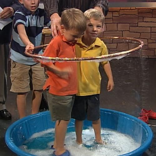 Giant Bubble Experiment. I remember doing this as a kid and loving it. I'll have to remember this for the boys.