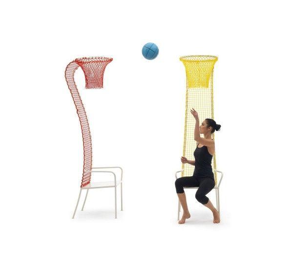 Lazy Basketball è una giocosa sedia del designer Emanuele Magini per il brand italiano Campeggi. La sedia ha la struttura in metallo e lo schienale si conclude in un canestro da basket in rete giallo o rosso. Presentato al Salone del Mobile di Milano 2013. Lazy basketball è una seduta stravagante, dedicata a chi non si prende troppo sul serio. Una seduta perfetta per la camera dei ragazzi, con struttura in metallo e schienale in rete sintetica dalla sinuosa linea che diventa poi un canestro…