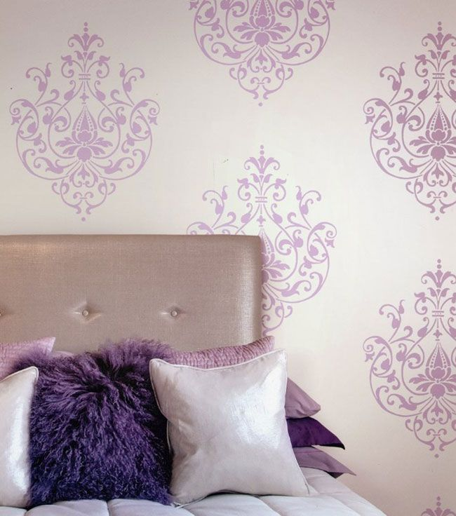 "Light Purple on Silver ""Belle"" - Color sheme for master bedroom is purple and blue, with pops of green.  Love the idea of this wallpaper on the wall behind the bed, all other walls painted pale purple."