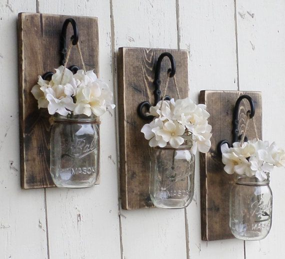 Rustic Farmhouse... Wood Wall Decor...Set of 3 Individual Hanging Mason Jars…