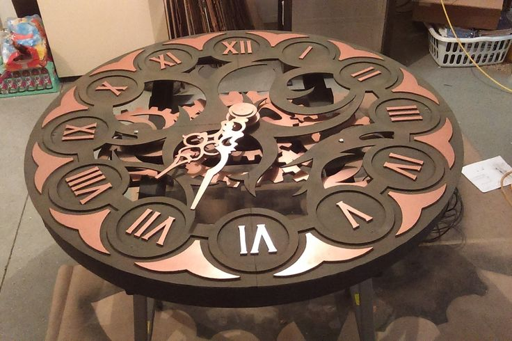 5 ft diameter clock I made for the local theater for Around the World in 80  Days.