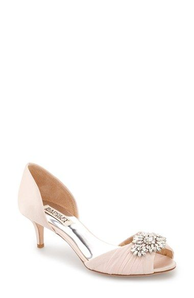 Free shipping and returns on Badgley Mischka 'Caitlin' Pump (Women) at Nordstrom.com. A sparkling floral brooch sits at the ruched toe of an elegant satin pump set on a svelte kitten heel.