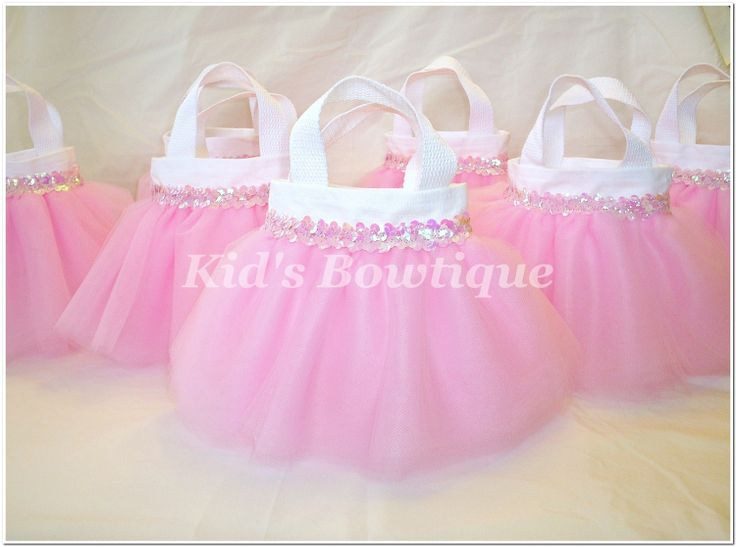 Set Of 8 Sweet Baby Pink Sequins Party Favor Tutu Bags   Baby Shower Gift  Bags