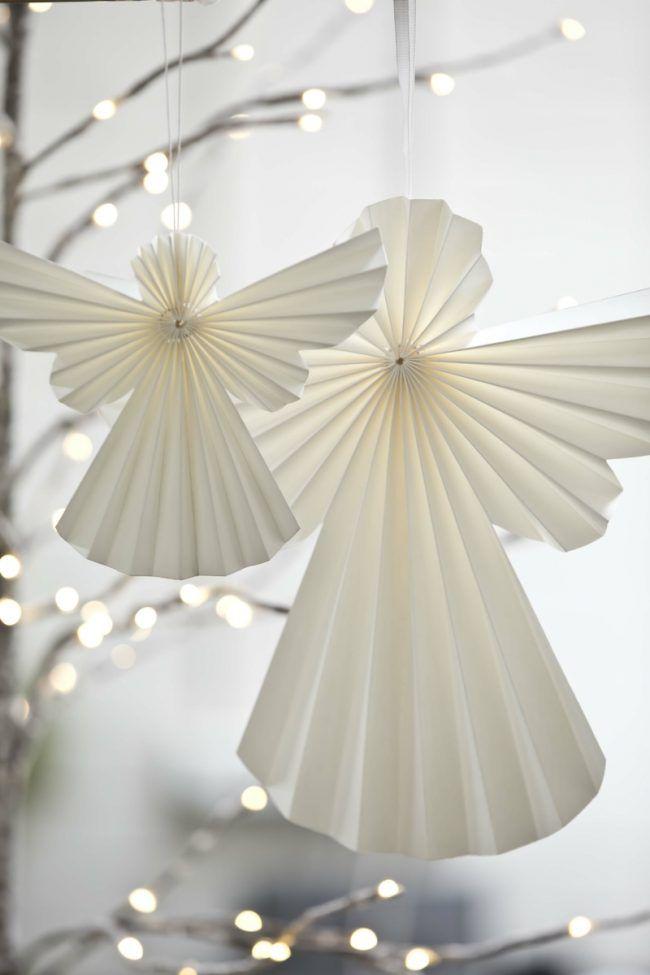 bastelideen mit papier duenn engel falten weiss ro…