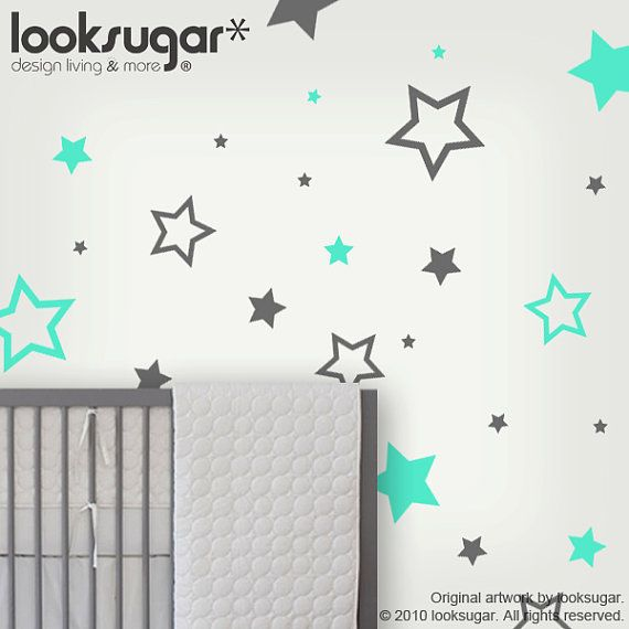 Babies room. Stars in the color of our choosing. Children Wall Decals  Children Wall Stickers  stars by looksugar, $28.00