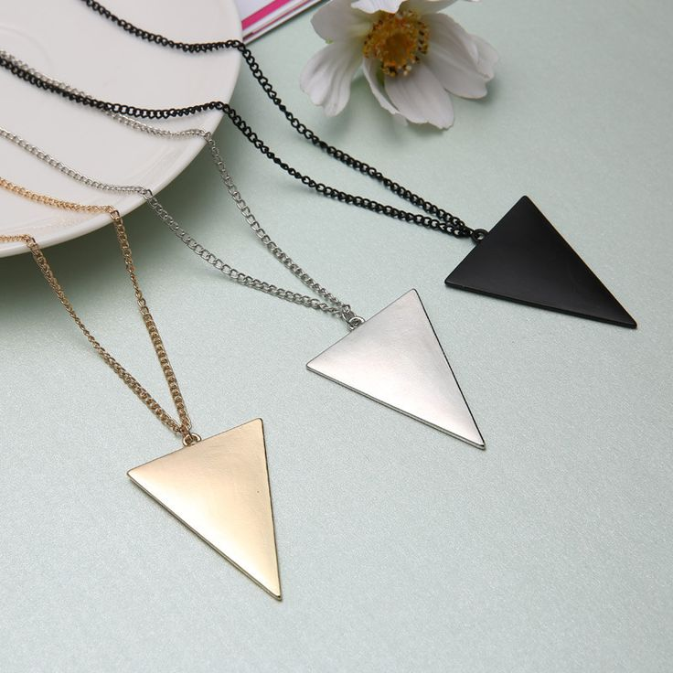 New Fashion Gold Plated Triangle Long Necklaces & Pendants Women Link Chain Geometric Necklace Female Jewelry collier femme