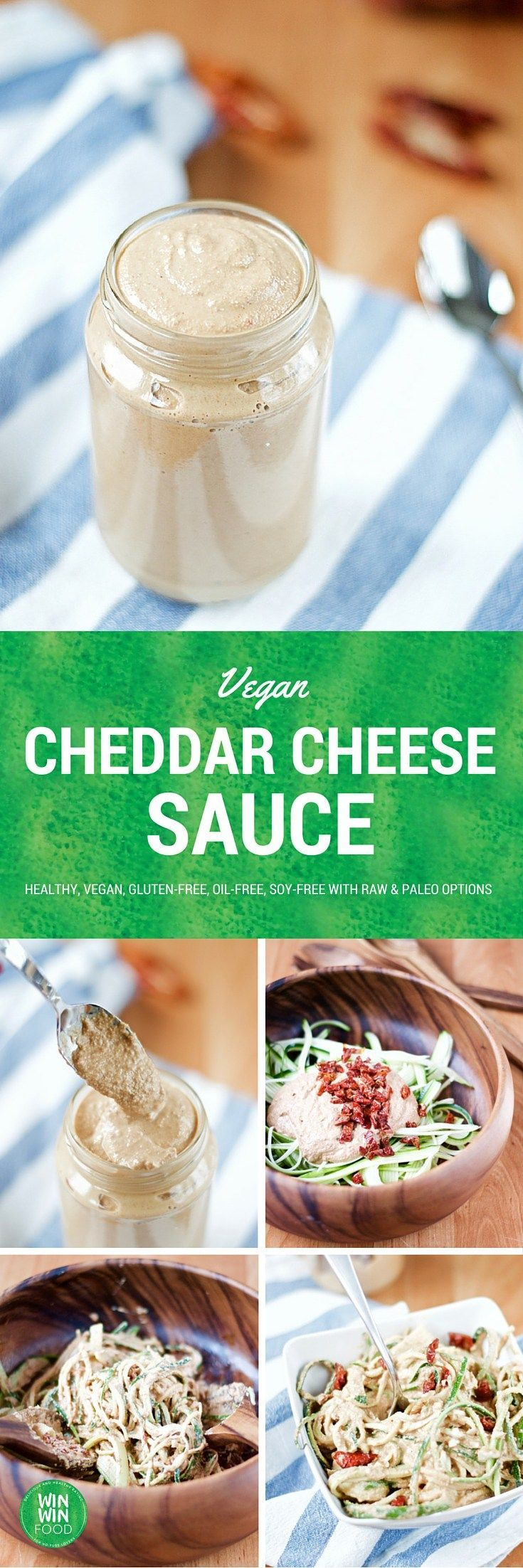 Vegan Cheddar Cheese Sauce | WIN-WINFOOD.com #healthy #vegan #glutenfree #oilfree #soyfree with #raw and #paleo options