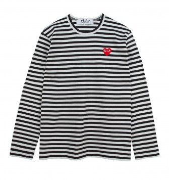 COMME DES GARÇONS PLAY SMALL LOGO STRIPED L/S T-SHIRT. White / Black. £105.00