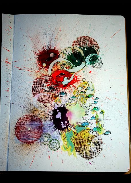 Eileen's Crafty Zone: Art Journal Page with Designs By Ryn Stamps and a new Tim Holtz Stencil