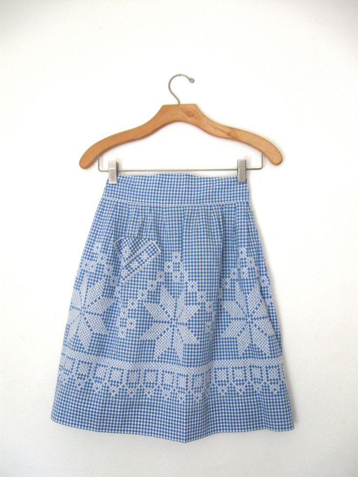 Vintage Cornflower Blue & White Embroidered Cross Stitch Apron Retro Kitchen by ErmaJewelsVintage on Etsy