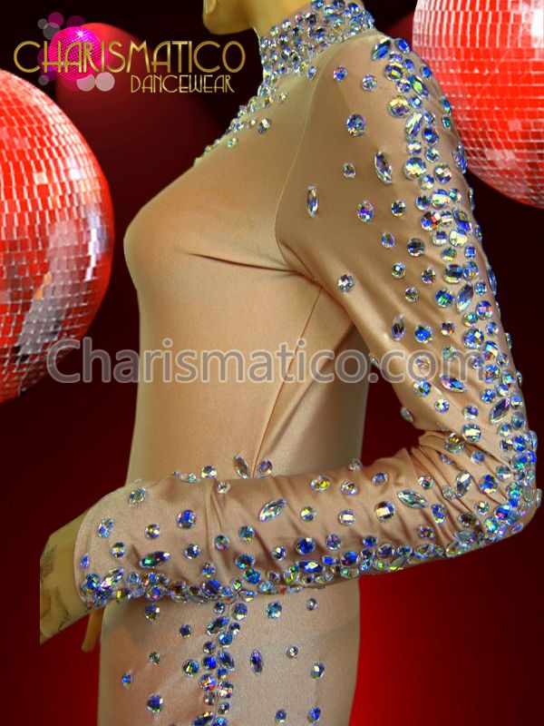 Nude Spandex Catsuit Styled Body Stocking with Iridescent Crystal Detailing