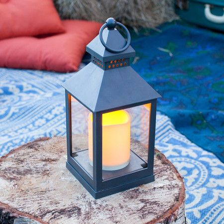 Square Charcoal Grey Lantern With LED Candle