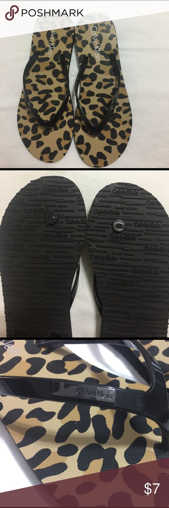 Calvin Klein slippers NWOT Black animal print slippers Calvin Klein Shoes Slippers