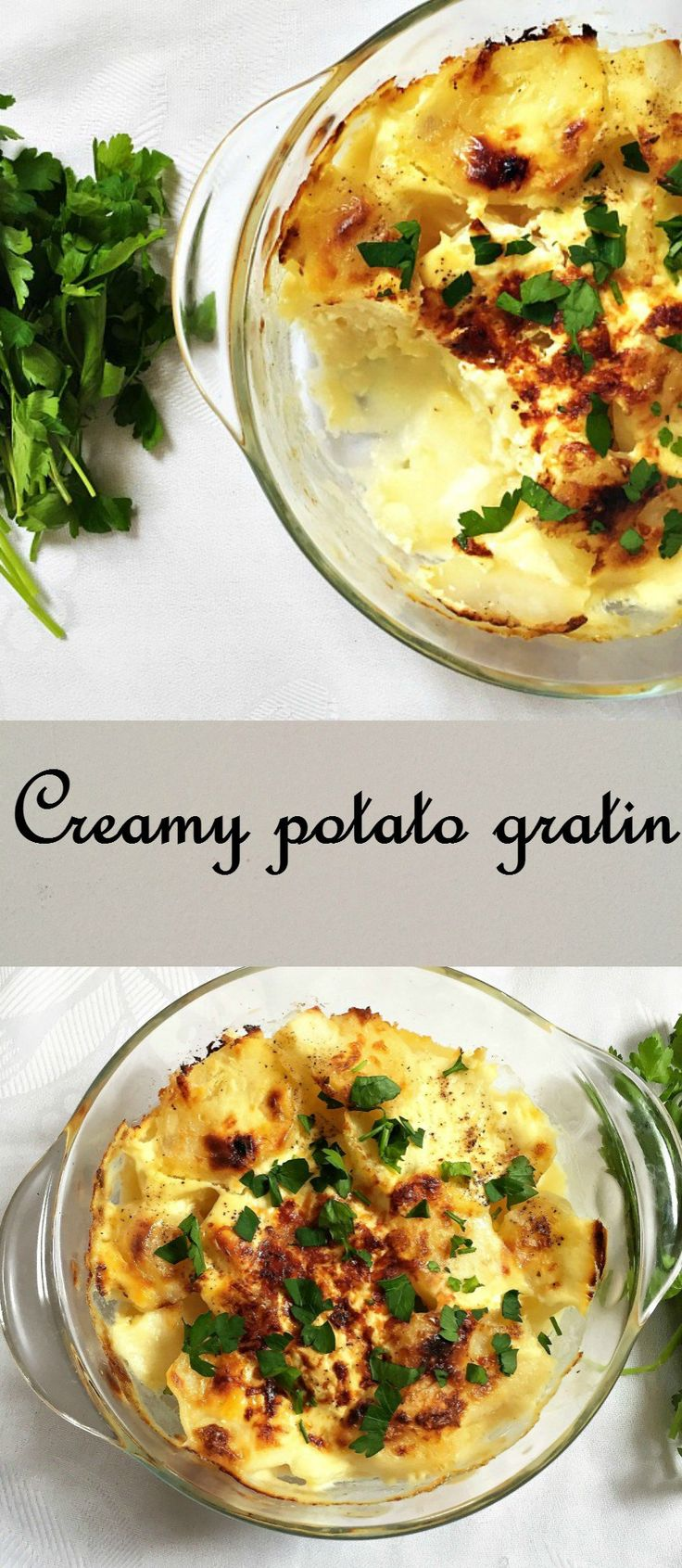 Creamy potato gratin, a posh side dish that has a subtle garlic kick and a cheesy texture. A must try vegetarian recipe for lunch or dinner.