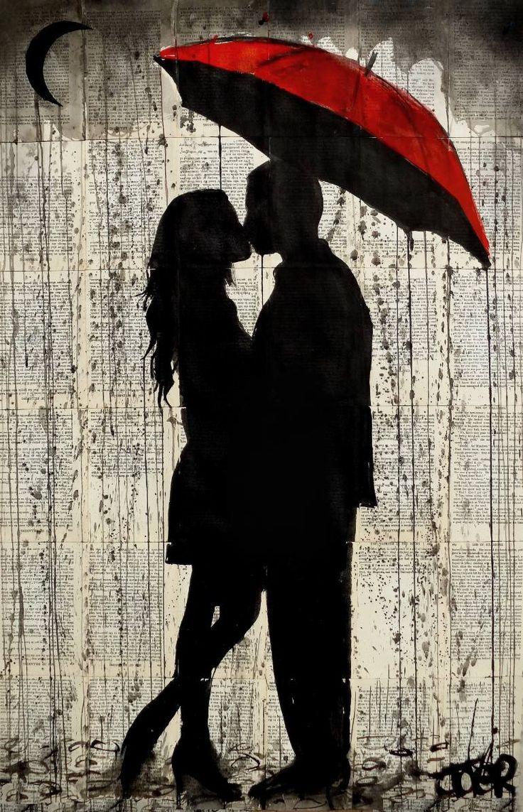 "Saatchi Art Artist Loui Jover; Drawing, ""rainy day love"" #art"