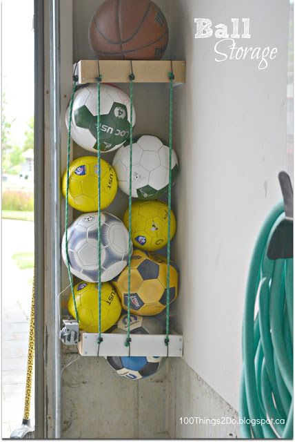 Easy idea for kids to keep soccer balls, basketballs, and volleyballs put away.