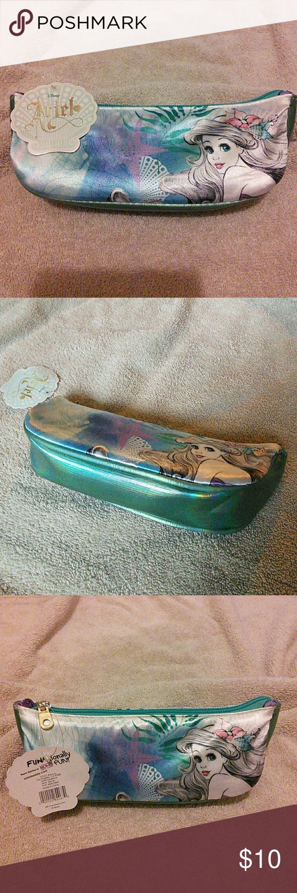 Ariel make up bag Little Mermaid Ariel make up bag, same picture on both sides, bottom is iridescent teal, purple seashell lining Bags