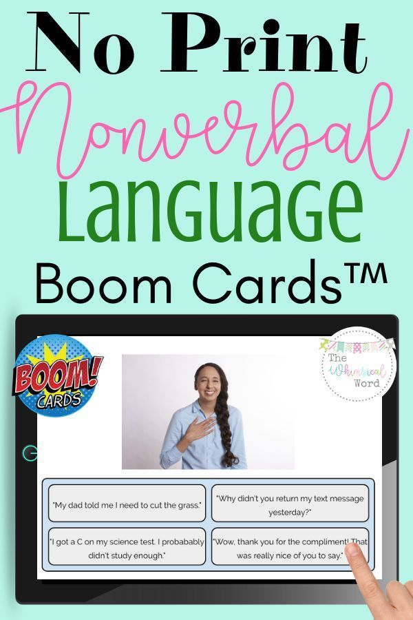 Non Verbal Communication Language Boom Cards™ Flashcards No Print Speech