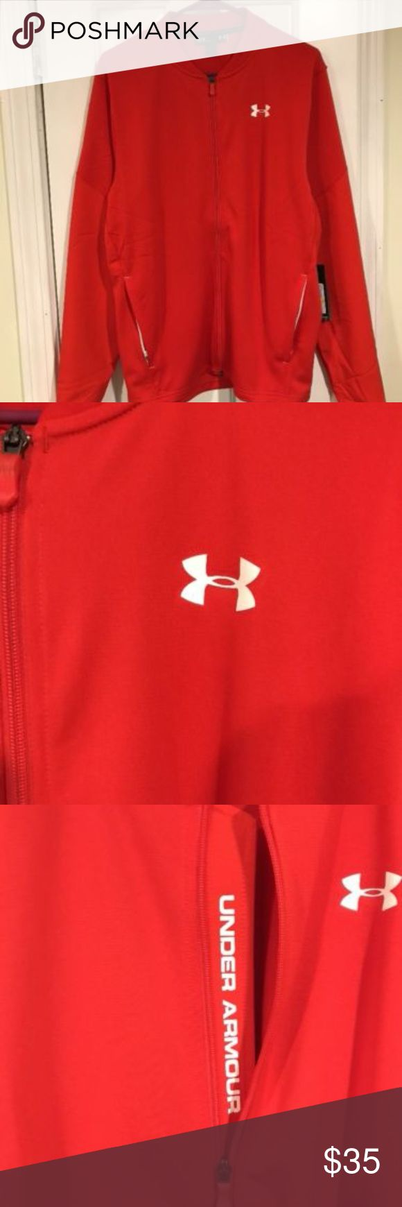 Men's Med Under Armour Red Fitted Full Zip Jacket Men's Medium Under Armour Red Fitted Full Zip Jacket  Brand new with tags Men's Medium Red full zip fitted jacket Under Armour Under Armour Jackets & Coats Lightweight & Shirt Jackets