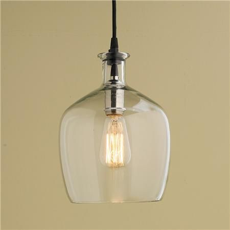 Small Carafe Glass Pendant Light - would need 2 above peninsula?  Pair with industrial/non-industrial