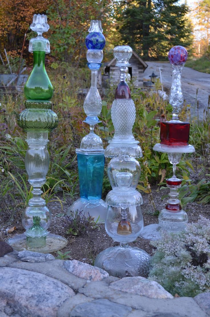 Exceptional Garden Totems, Recycled Glass