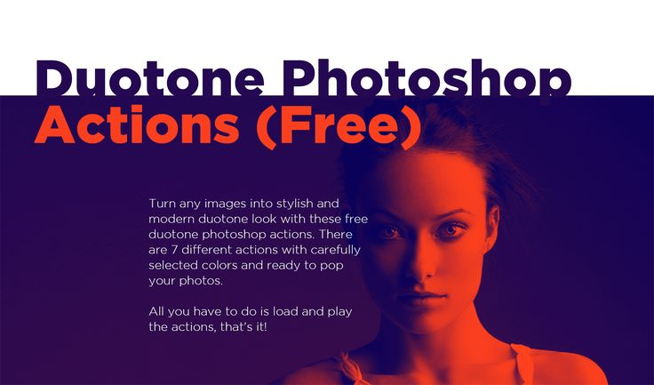 Turn any images into stylish and modern duotone look with these free duotone photoshop actions. There are 7 different actions with carefully selected colors and ready to pop your photos. All you have to do is load and play the actions, that's it!