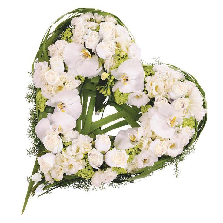 Cœur de roses et orchidées phalaenopsis blanches | Interflora