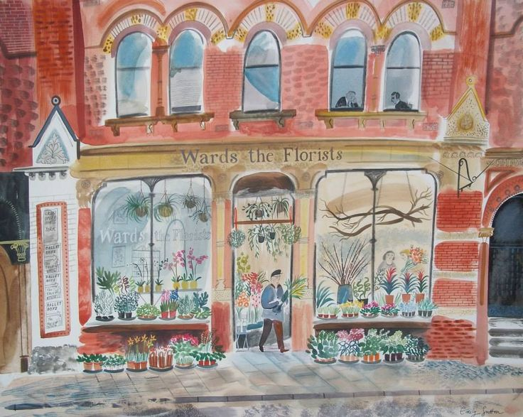 """Wards the Florists"" by Emily Sutton (watercolour)"