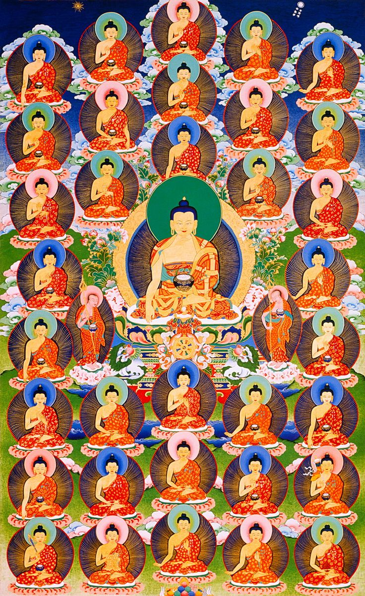 Thangka of 35 Buddhas • The 35 Buddhas are known from the Sutra of the Three Heaps (Sanskrit: Triskandhadharmasutra), popular in Tibetan Buddhism. More Sacred art @ www.traditionalartofnepal.com