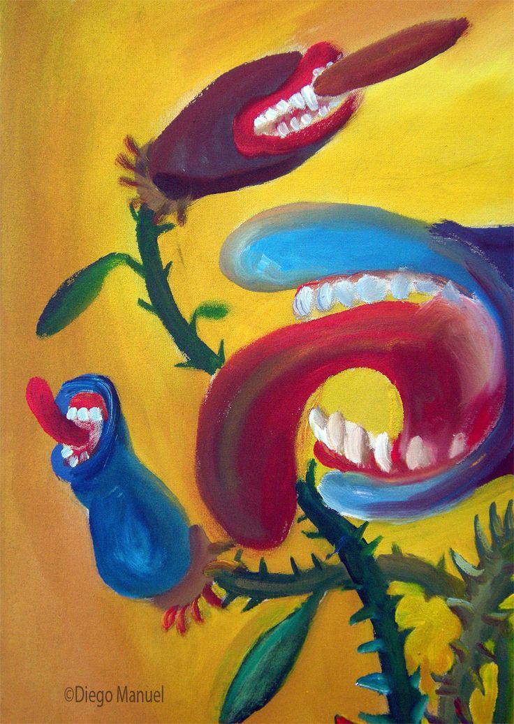 """Flor carnivora"", acrilico sobre tela, 65 x 45 cm. 2001 Painting of the Serie Still Life for sale by artist Diego Manuel. Cuadro en venta de la Serie Naturaleza Muerta"
