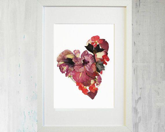 valentines gift botanical heart art dried flowers by plantart naturedecor