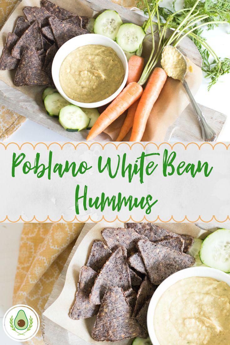 Poblano White Bean Hummus Recipe from The Healthy Chew blog  #fresh #easyrecipe #hummus #lunch #dinner #chipsanddip #poblano #carrot #chickpeas #whitebeans