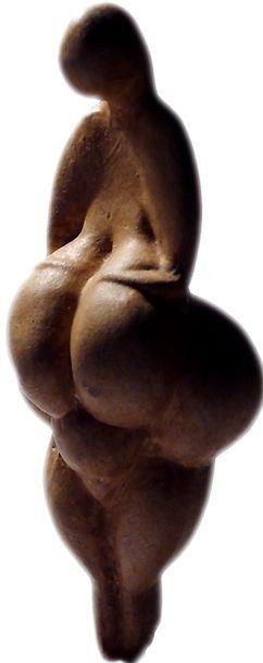 Venus de Lespuge, 19.000 B.C est taillée dans un morceau de défense de mammouth. Elle se présente de face mais si on regarde de l'autre côté et qu'on la retourne on voit une femme de dos avec une longue chevelure.