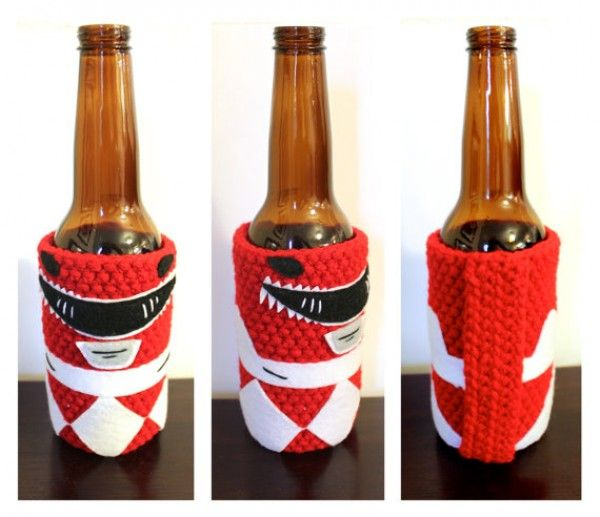 Crocheted Red Ranger Wants To Protect Your Hands From Cold Cans