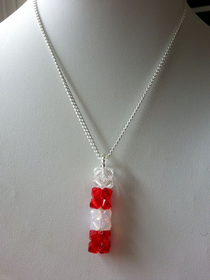 Crystal Pendant Necklace, Canada Flag, Canadian flag, Red and White, Patriotism, Patriotic, Army, Navy, Air Force, Canada Day Jewelry by PickinsGalore on Etsy