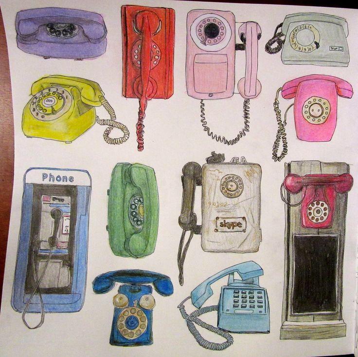 Zoe De Las Cases Secret New York Colouring Book, Telephones by Michelle