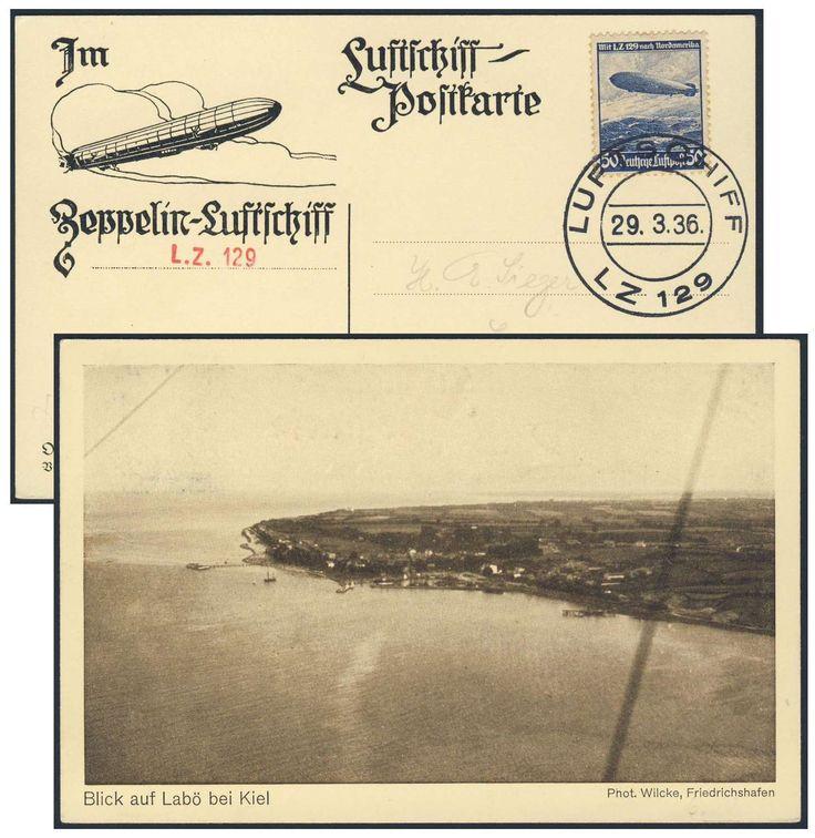 """Germany, German Empire, Zeppelinpost, 29.03.1936, Karte von der Deutschlandfahrt, Bordpost, Delagkarte mit Ansicht """"Blick auf Kiel"""" (Sieger-Nr.402 A) (Mi.-Nr.DR 606 EF). Price Estimate (8/2016): 20 EUR. Unsold."""