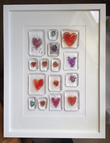 Fused Glass Heart Picture.  like the mounting/framing idea, not necessarily hearts.