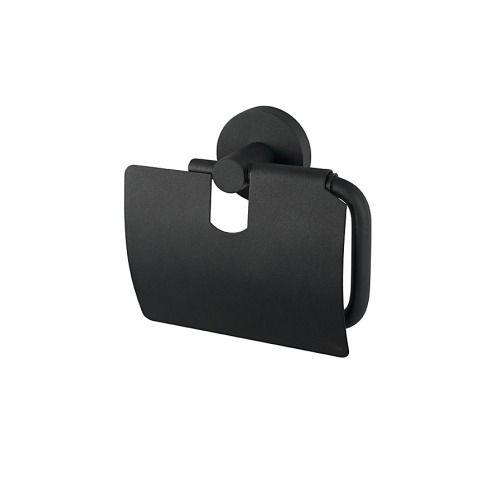 Haceka Kosmos Toiletrolhouder met klep zwart - 1142257 - Sanitairwinkel.nl