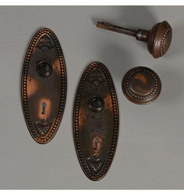 Colonial Revival Beaded Oval Door Set, C1910. Simple Yet Decorative  Colonial Revival Door Hardware