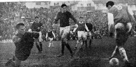 Brighton 1 Bedford Town 1 in Dec 1965 at the Goldstone Ground. Clive Livesey miss kicks this great chance for Brighton in the FA Cup 2nd Round.