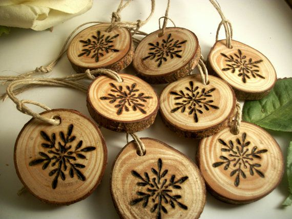 8 Small Red Pine Snowflake Wood burned Ornaments by TheHickoryTree, $10.50
