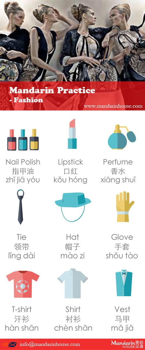 Fashion in Chinese.For more info please contact: bodi.li@mandarinhouse.cn The best Mandarin School in China.