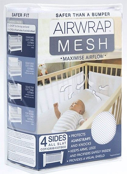 Unique design means the Airwrap mesh fits most cots and maximises airflow and breathability for improved comfort, peace of mind and ultimately a better night sleep for you and your bub. Surround them with air! Designed with breathable mesh fabr