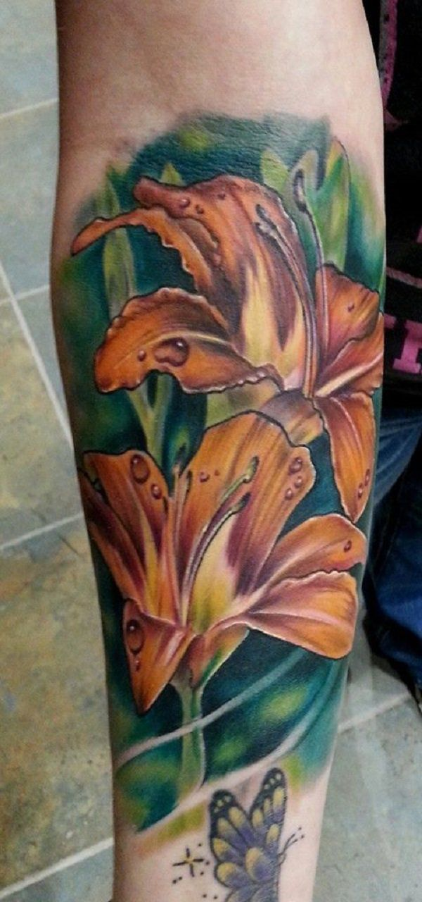 Realistic Yellow Lily Tattoo by Rodney Eckenberger - 55+ Awesome Lily Tattoo Designs  <3 !