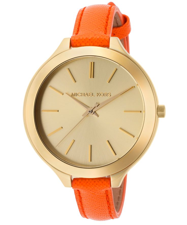 Women s Slim Runway Gold Tone Dial Orange Genuine Leather ...
