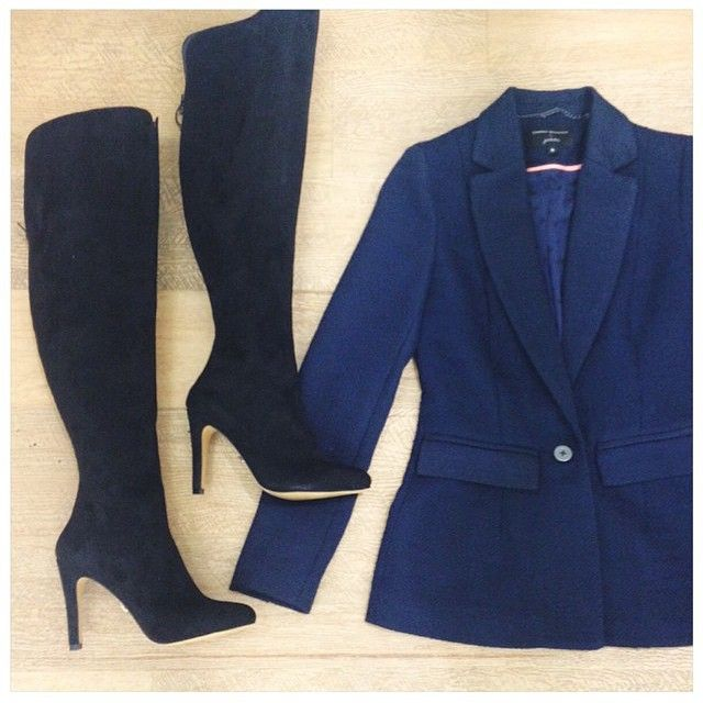 Our favourite weekend look - #DanniiforTarget tux blazer and fab thigh high suede boots!  #PetitesCollection @LanaWilkinson